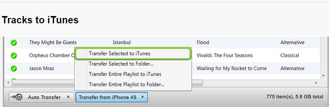 how to send songs to iphone from itunes