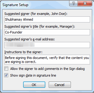 how to add signature in excel mac