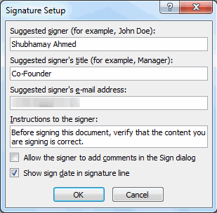 add signature to word